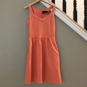 Coral Sleeveless Casual Dress with Pockets